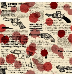 Newspaper with the images of pistols vector