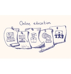 Online education sticker set vector