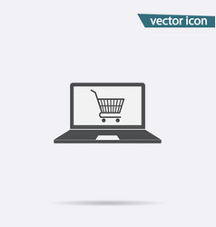 online shopping icon flat store cart symbo vector image