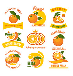 orange products emblems set vector image