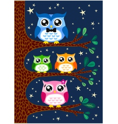 owl family design vector image