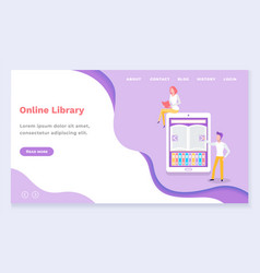 people using online library for learning vector image