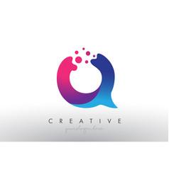 Q letter design with creative dots bubble circles vector