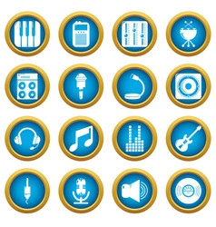 recording studio symbols icons set simple style vector image
