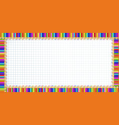 rectangle border made of colorful pencils on vector image