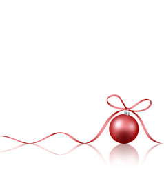 red christmas decoration bauble with ribbon bow vector image