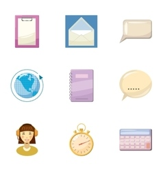 Round clock consultation icons set cartoon style vector