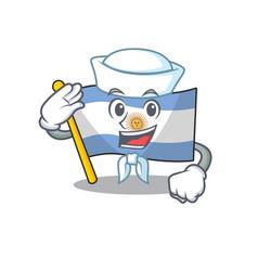 Sailor flag argentina cartoon shaped mascot vector