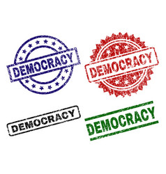 scratched textured democracy seal stamps vector image