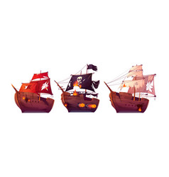 Sea battle wooden ships and pirate sailboat vector