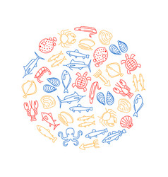 Sea food thin line round design template vector
