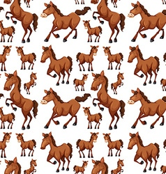 Seamless background with brown horses vector image