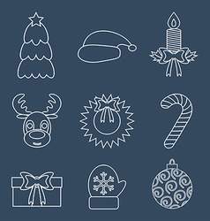 Set of Christmas icons outline vector image