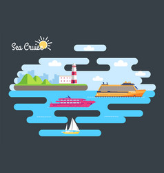 set of flat yacht scooter boat cargo ship vector image