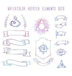 Set of hand drawn blank vintage badges borders vector