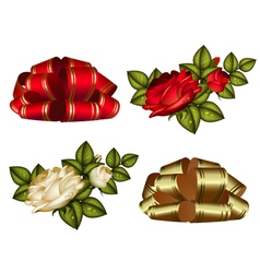 set of red and gold bows and roses vector image