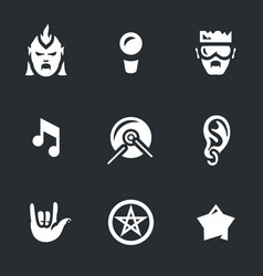 Set of rock music icons vector