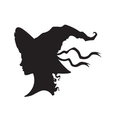 silhouette of beautiful curly witch in pointy hat vector image