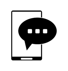 silhouette smartphone bubble speech conversation vector image