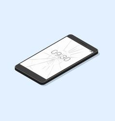 smart phone with broken screen isolated vector image