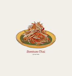 Som-tum thai food hand drawn sketch vector