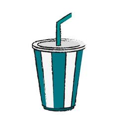 Striped soda cup icon image vector