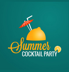 Summer cocktail party lemon with umbrella and vector