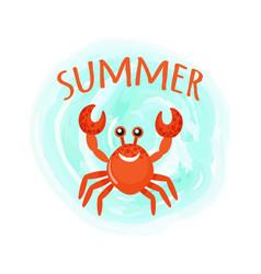 summer crab oceanic underwater cartoon animal vector image