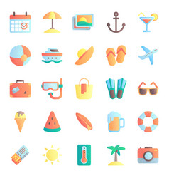summer flat icons summertime vacation beach vector image