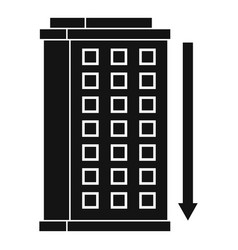 Tall building and down arrow icon simple style vector