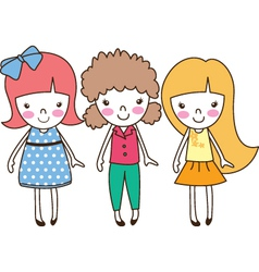 three cute girls vector image