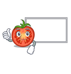 thumbs up with board character tomato slices for vector image