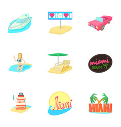 Tourism in miami icons set cartoon style vector