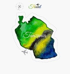 Travel around the world tanzania watercolor map vector