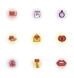 Valentines day february 14 icons set vector