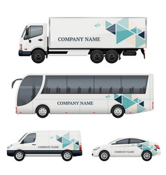 vehicle branding transportation advertizing bus vector image