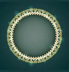 vintage gold frame with white pearls and roses vector image