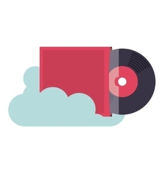 vinyl music with cloud isolated icon design vector image