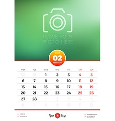 Wall Calendar Template for 2017 Year February vector image