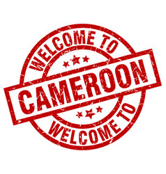 Welcome to cameroon red stamp vector