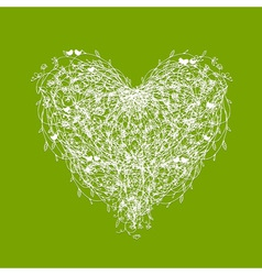 White floral heart shape on green vector image vector image