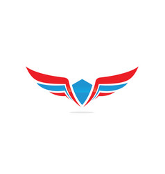 winged logo company and icon wing flying vector image