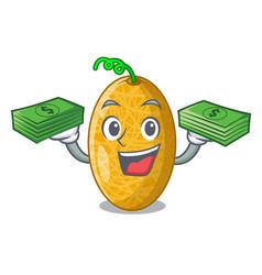 With money sweet honeydew melon on bowl cartoon vector