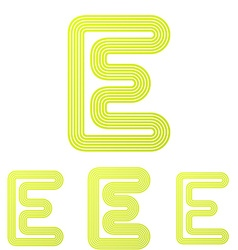 Yellow letter e logo design set vector image