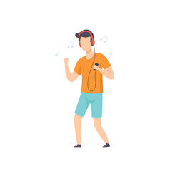 young man in casual clothing listening music and vector image
