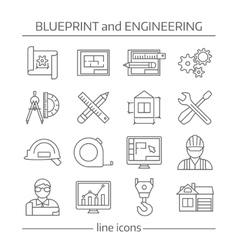 Blueprint and engineering linear icons set vector