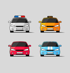 Car icons front view vector