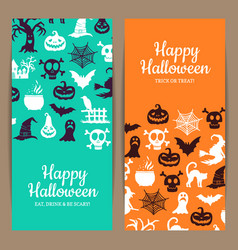 halloween thin card or flyer templates with vector image