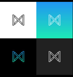 linear abstract letter m logo vector image