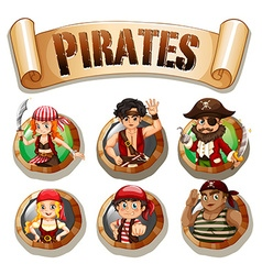 Pirates on round badges vector image